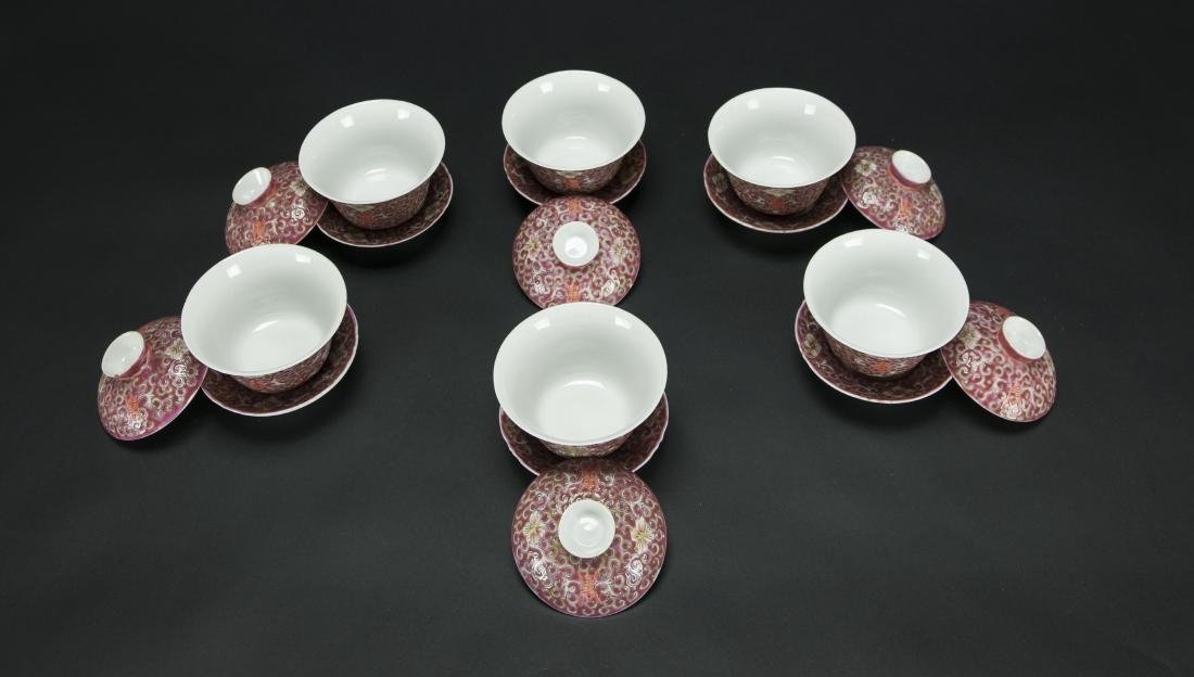 Republic-A Set Of Six Red Ground 'Floral' Cups With - 3
