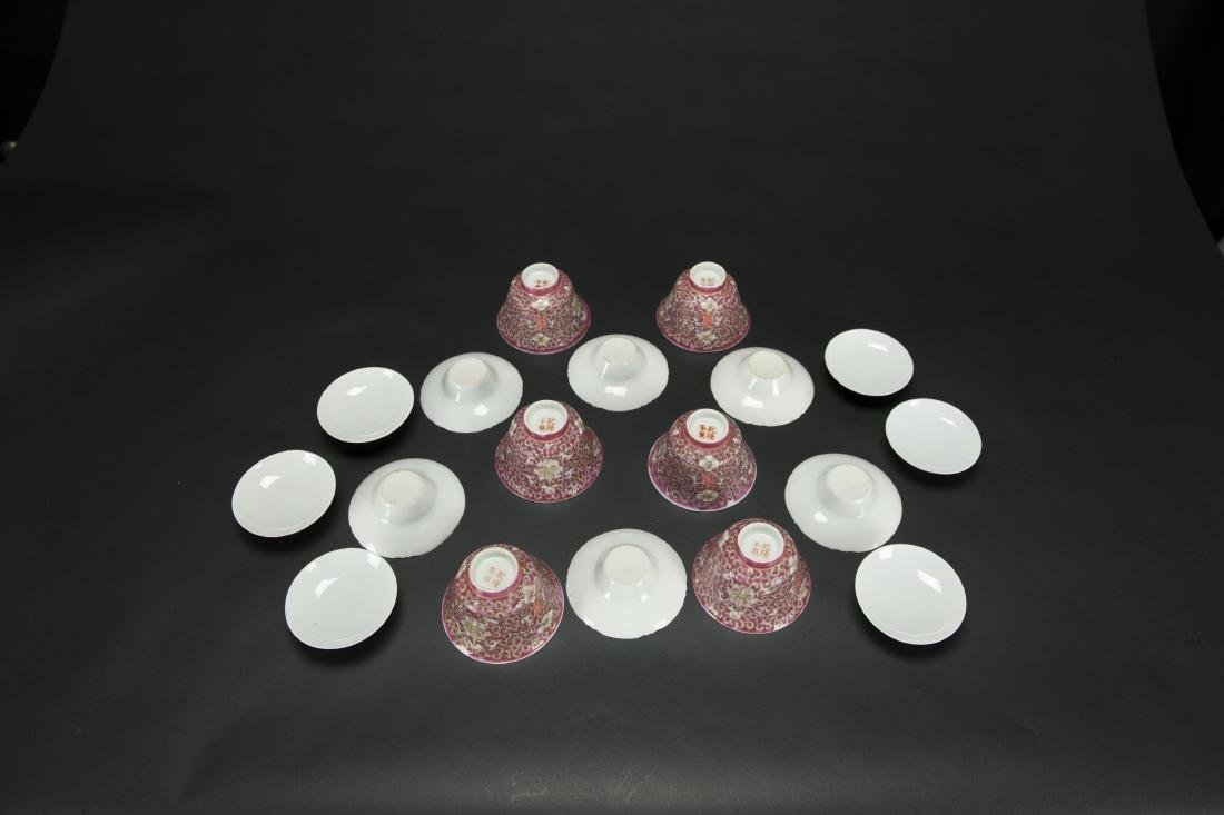 Republic-A Set Of Six Red Ground 'Floral' Cups With - 4