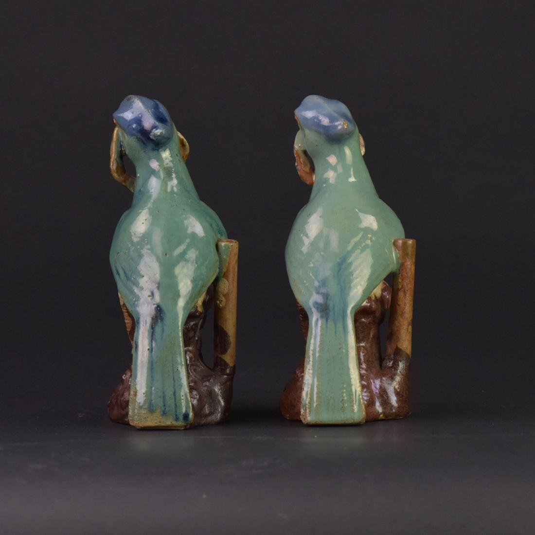 Late Qing/Republic-A Pair of Shiwan Parrots - 3