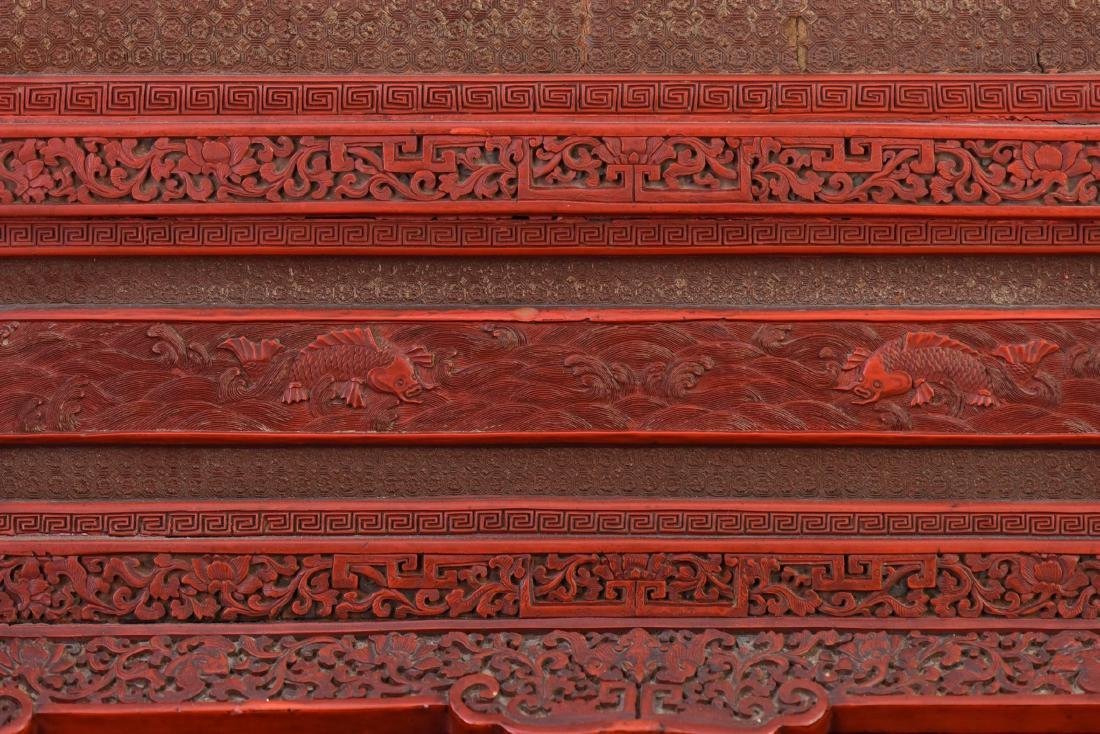 Qing - A Cinnabar Lacquer Carved 'Eight Immortal And - 10