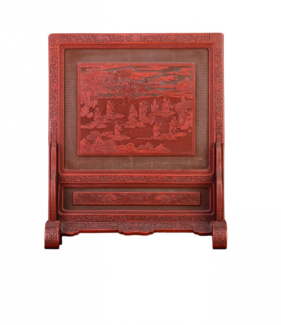 Qing - A Cinnabar Lacquer Carved 'Eight Immortal And