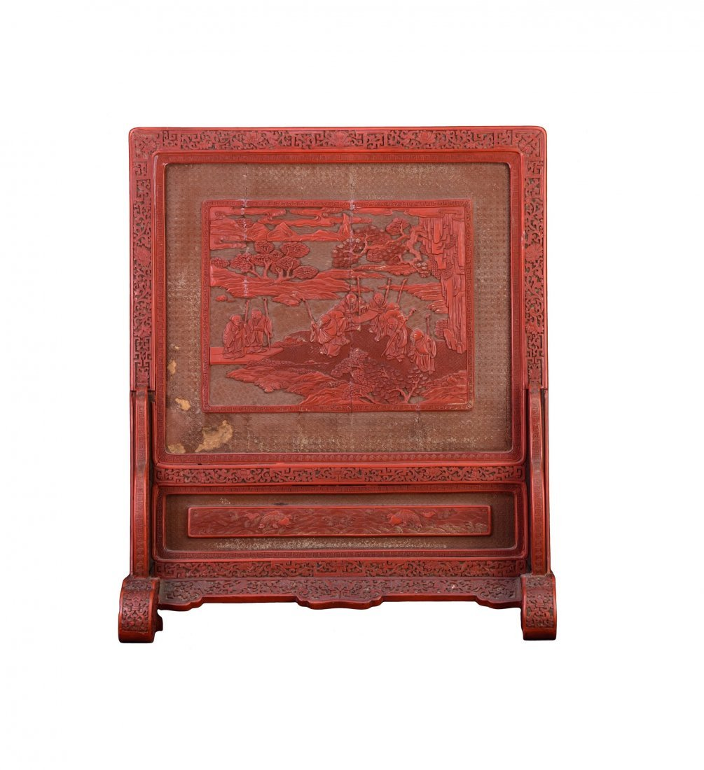 Qing - A Cinnabar Lacquer Carved 'Eight Immortal And - 2