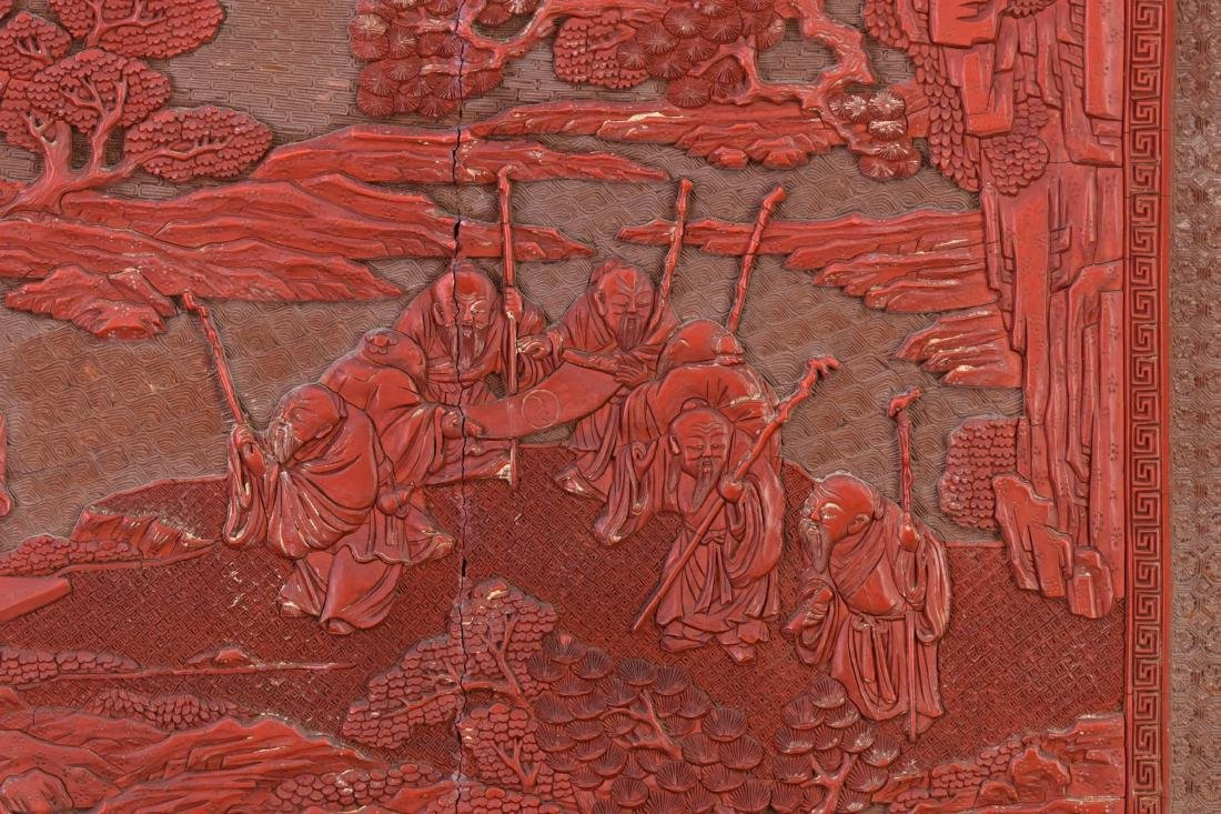 Qing - A Cinnabar Lacquer Carved 'Eight Immortal And - 7
