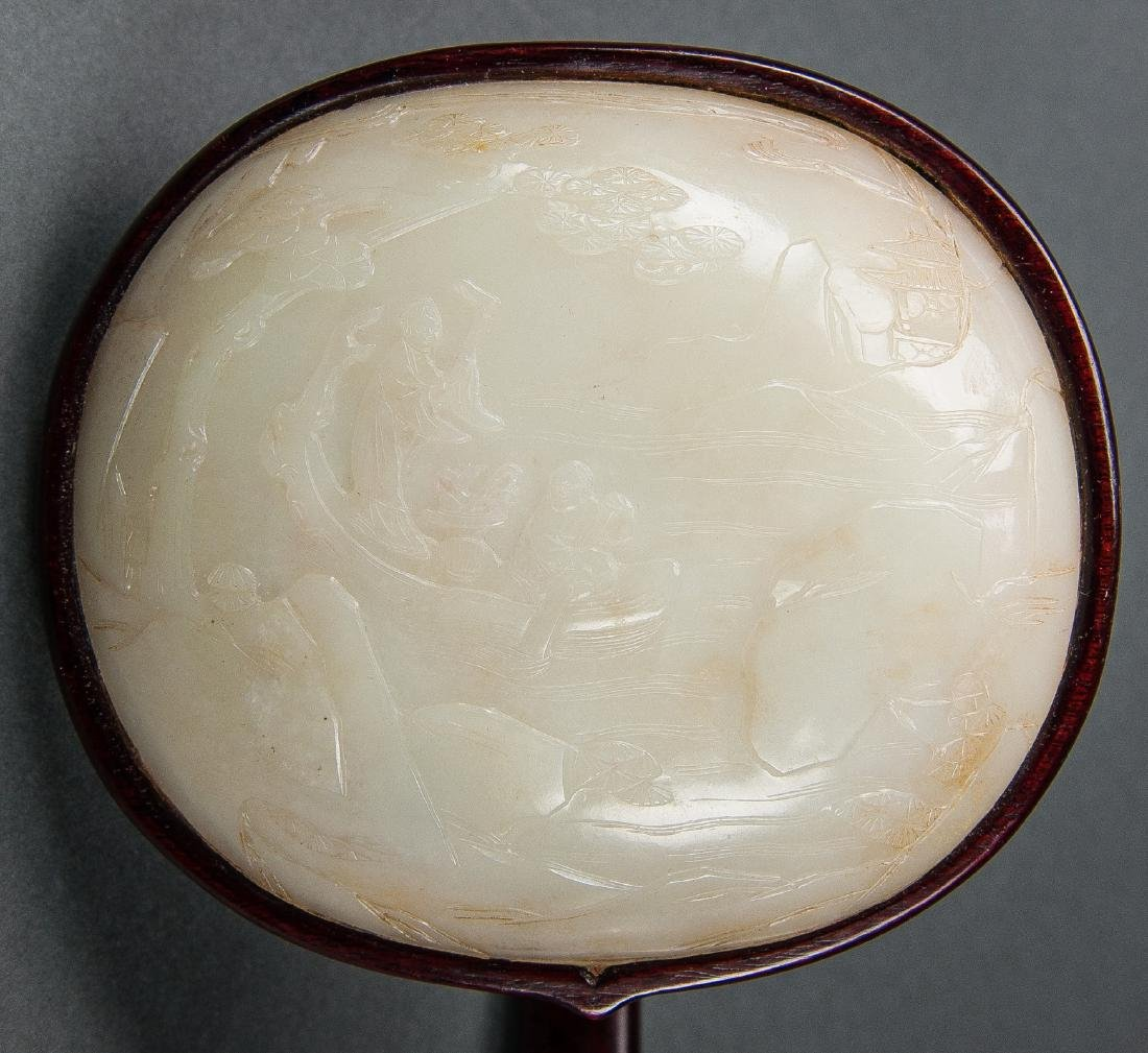 Qing Dynasty-A White Jade-Mounted Wood Ruyi Scepter - 4