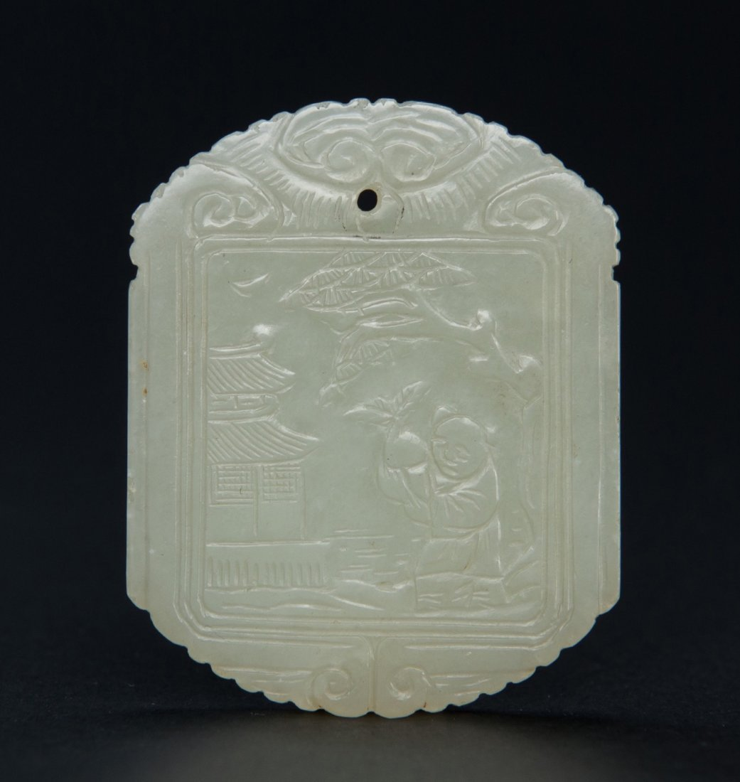 Qing-A White Jade Carved Figure And Poetry Pendant