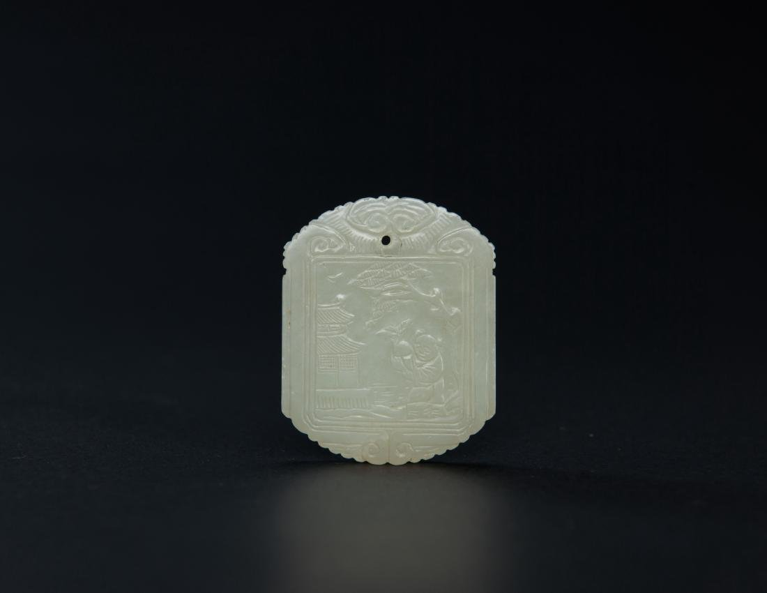 Qing-A White Jade Carved Figure And Poetry Pendant - 2