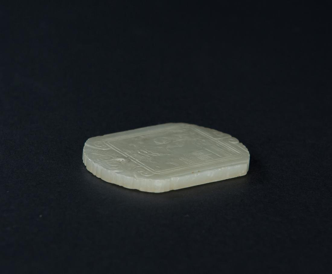 Qing-A White Jade Carved Figure And Poetry Pendant - 5