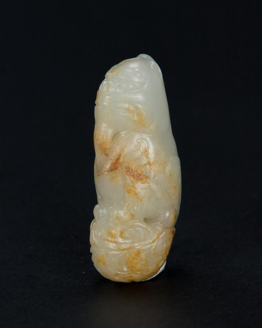 Qing - A Russet White Jade Carved Lion - 4