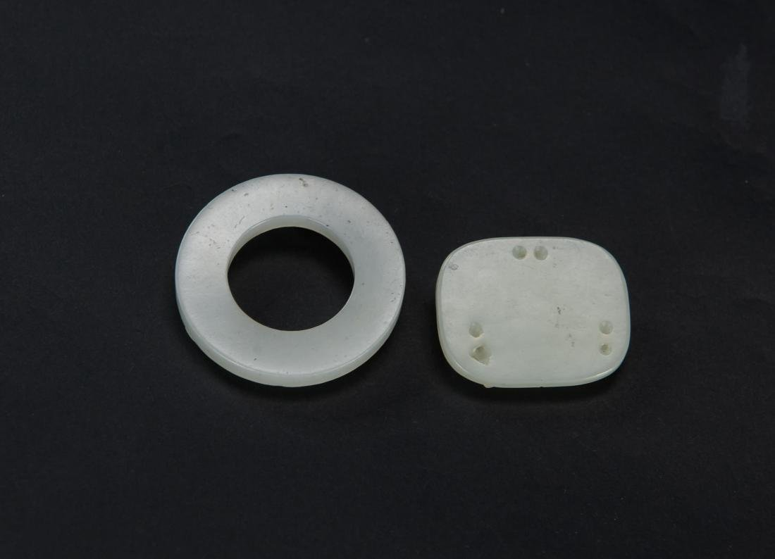 Qing-Two Pieces Of White Jade Carved Chilung - 2