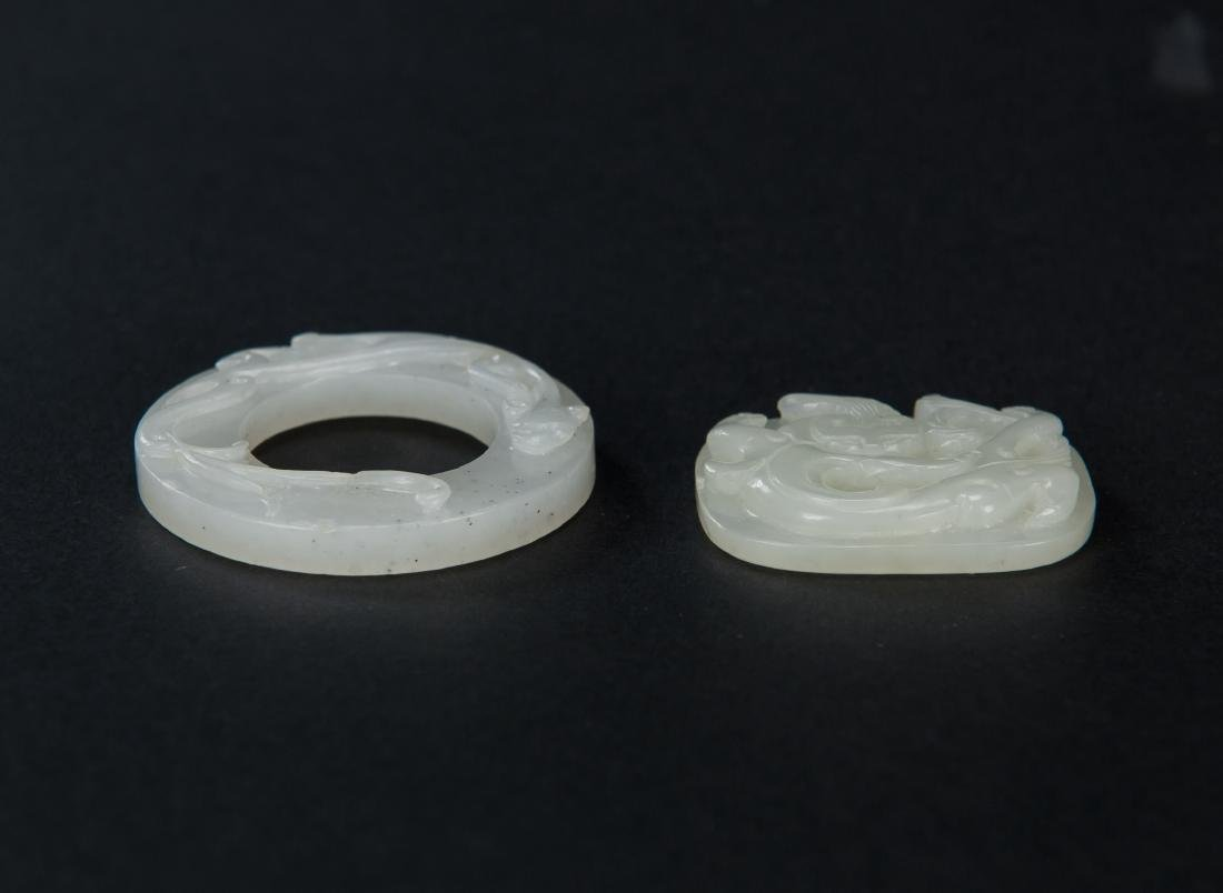 Qing-Two Pieces Of White Jade Carved Chilung - 3
