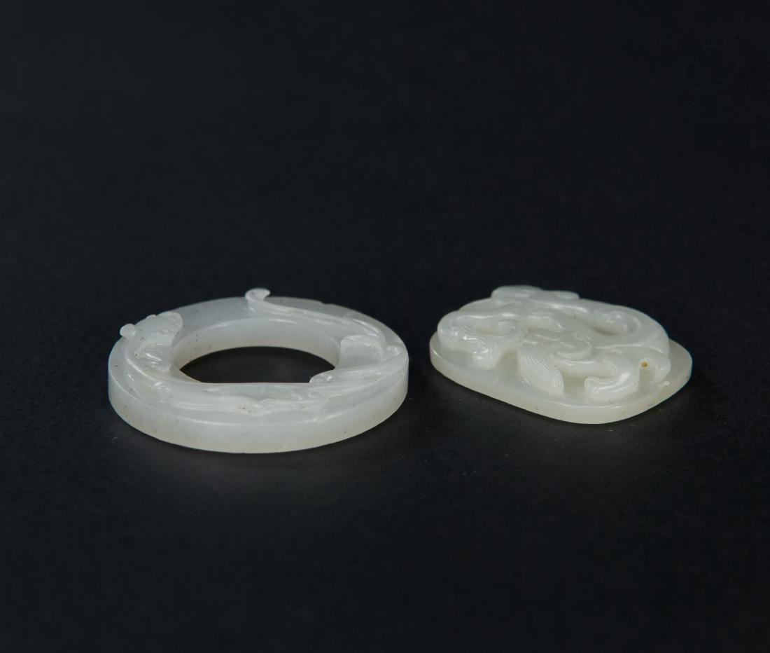 Qing-Two Pieces Of White Jade Carved Chilung - 4