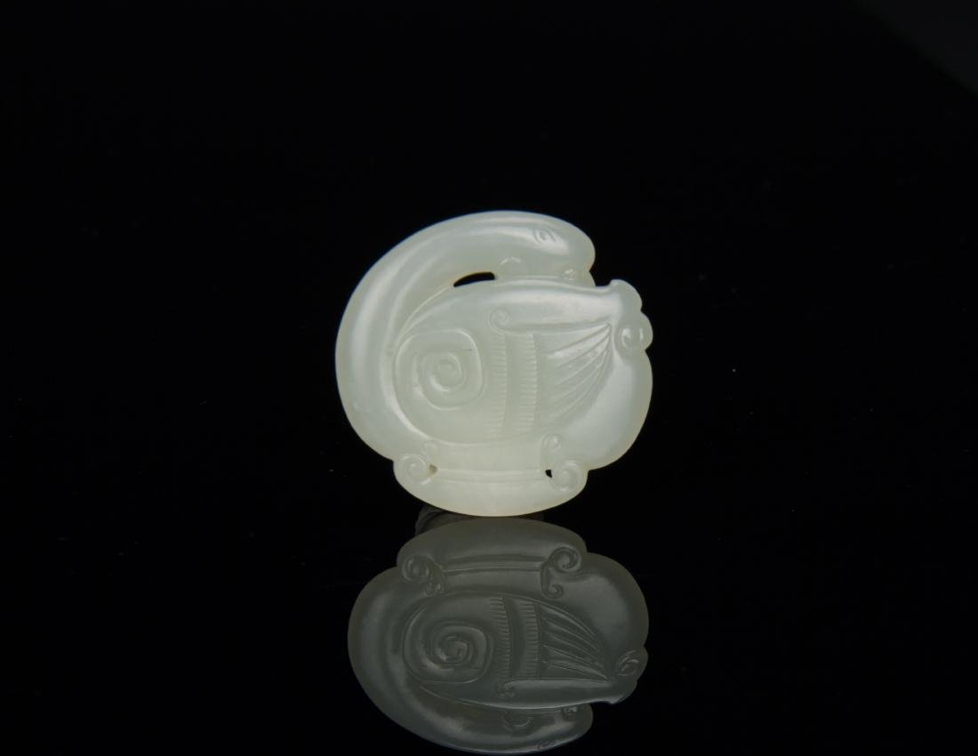 Qing-A White Jade Carved Mandarin Duct Pendant