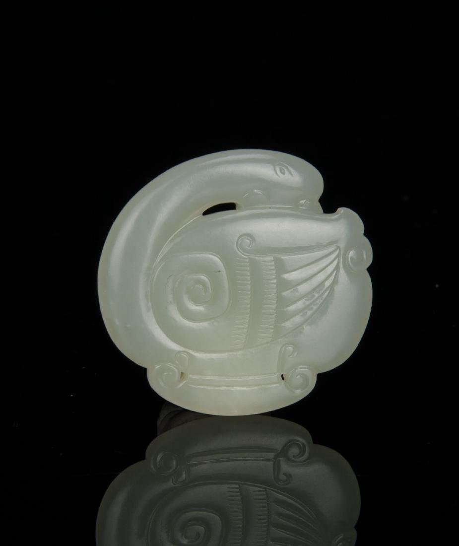 Qing-A White Jade Carved Mandarin Duct Pendant - 2