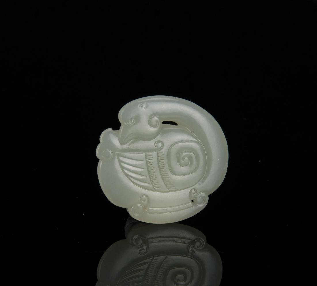 Qing-A White Jade Carved Mandarin Duct Pendant - 3