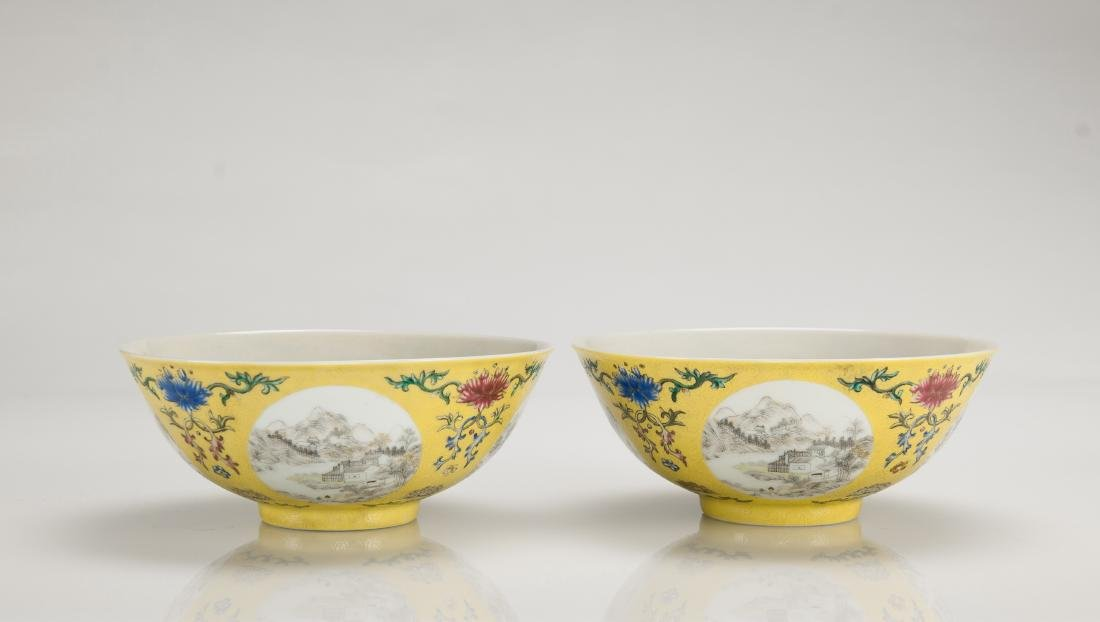 A Yellow Ground Famille-Rose 'Landscape' Bowl