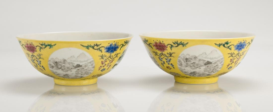 A Yellow Ground Famille-Rose 'Landscape' Bowl - 2