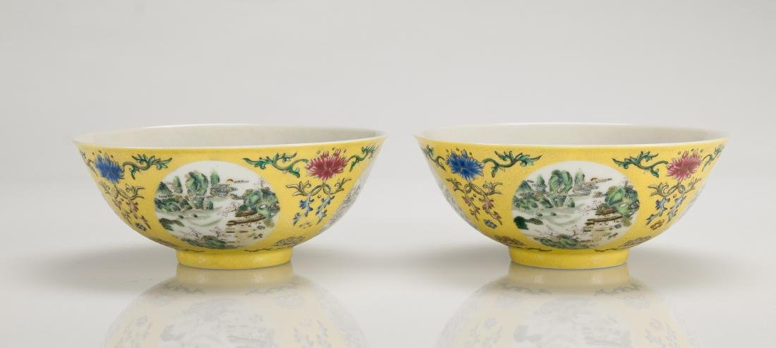 A Yellow Ground Famille-Rose 'Landscape' Bowl - 3