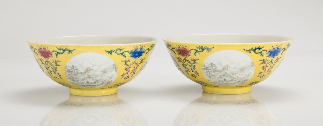 A Yellow Ground Famille-Rose 'Landscape' Bowl - 4