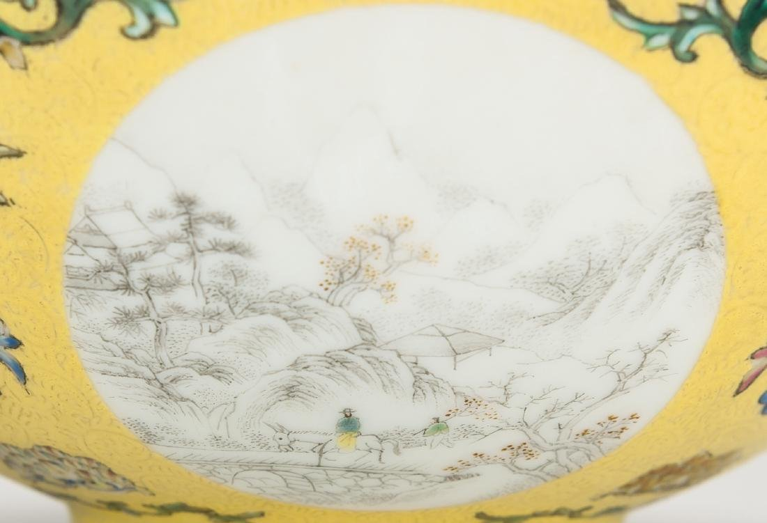 A Yellow Ground Famille-Rose 'Landscape' Bowl - 5