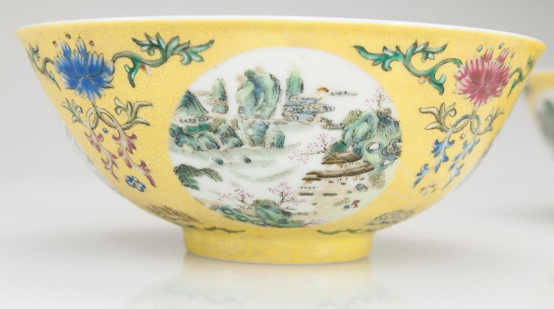 A Yellow Ground Famille-Rose 'Landscape' Bowl - 6