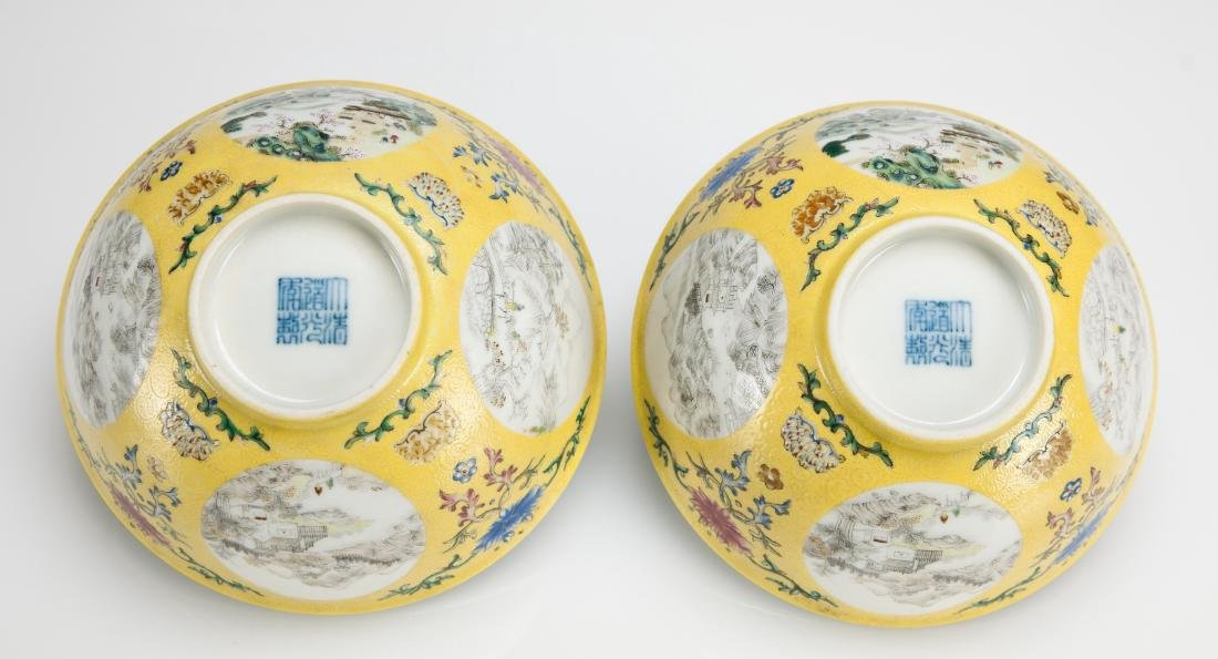 A Yellow Ground Famille-Rose 'Landscape' Bowl - 8