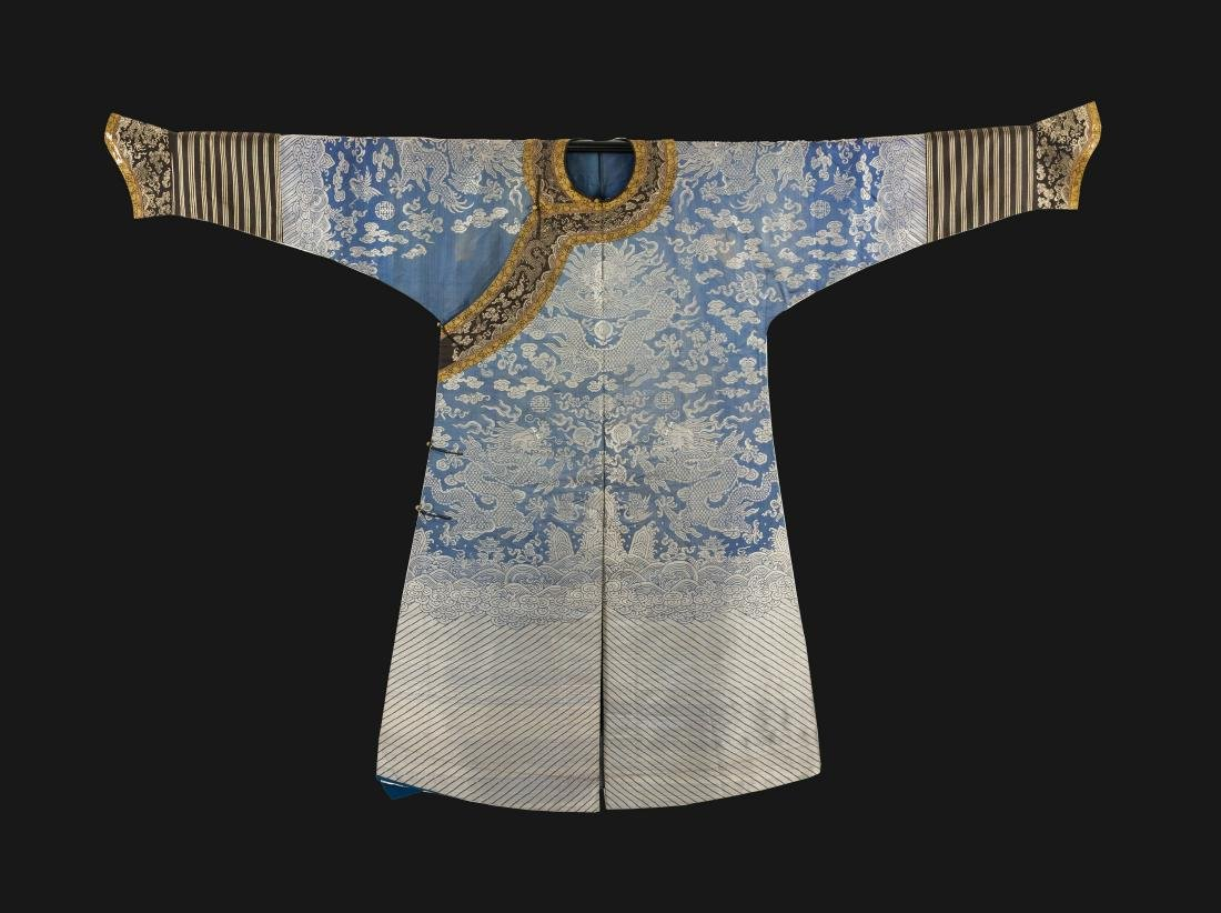 Qing-A Blue Ground Embroidered Dragon Rob