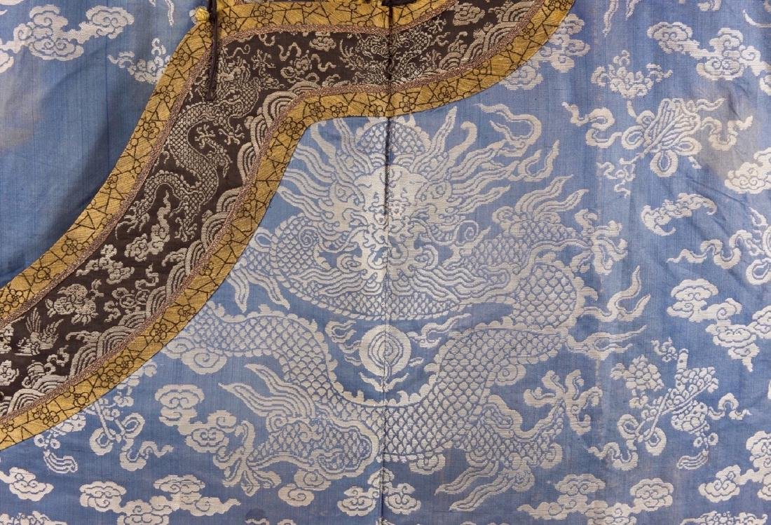 Qing-A Blue Ground Embroidered Dragon Rob - 2