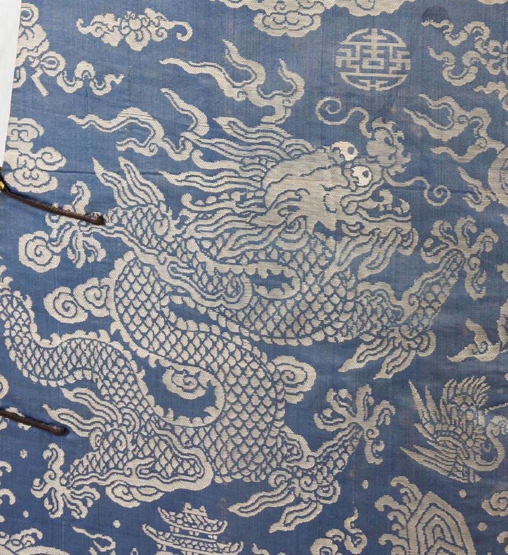 Qing-A Blue Ground Embroidered Dragon Rob - 3