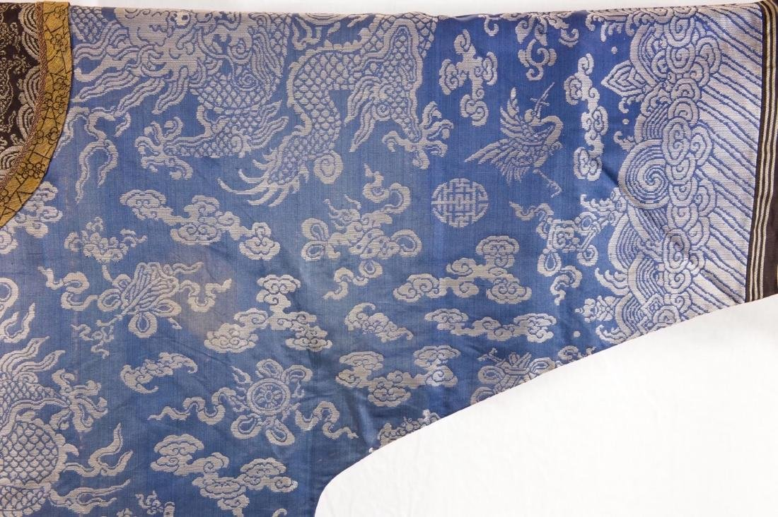 Qing-A Blue Ground Embroidered Dragon Rob - 4