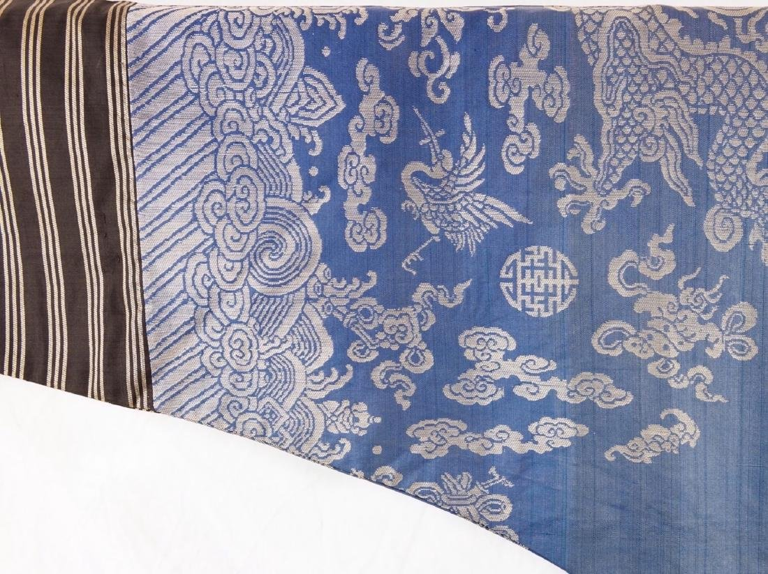 Qing-A Blue Ground Embroidered Dragon Rob - 5