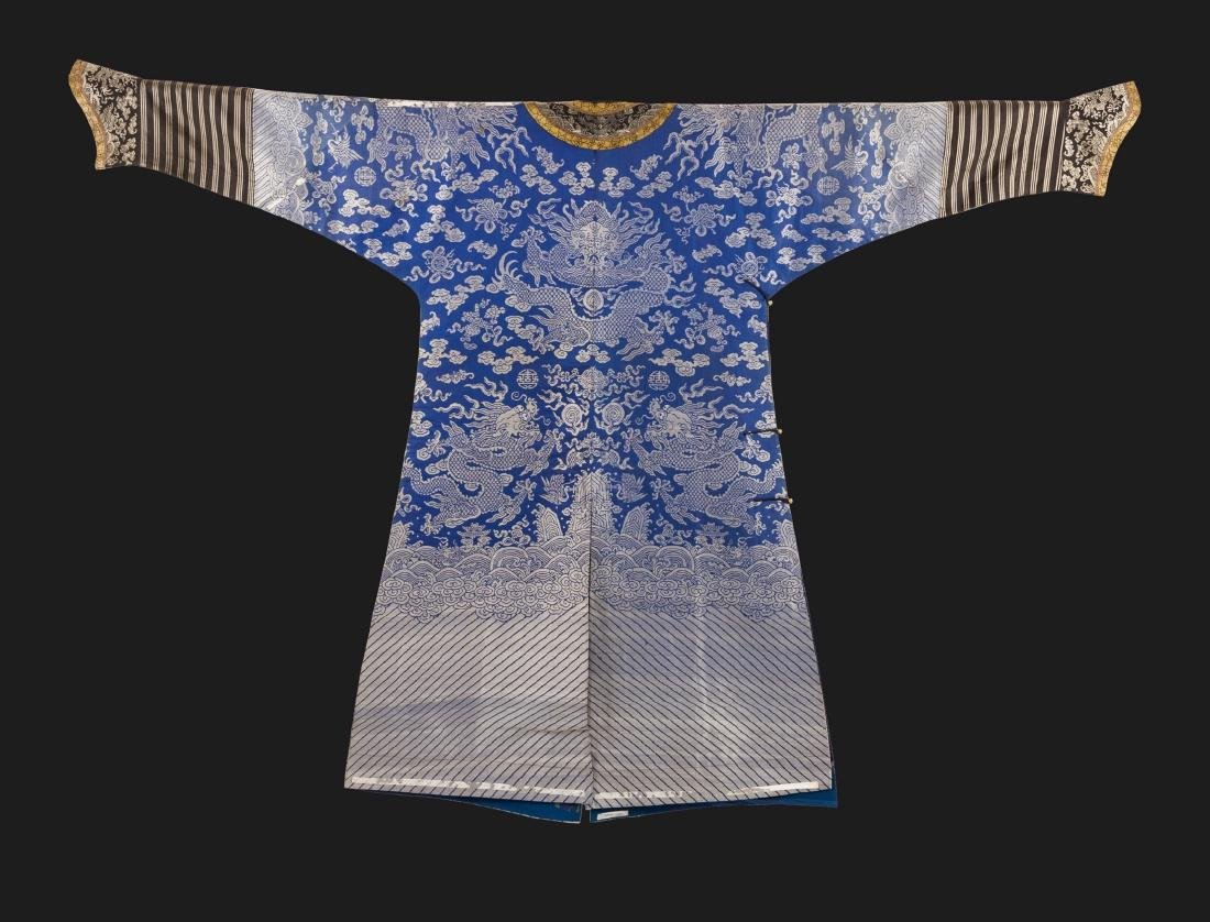 Qing-A Blue Ground Embroidered Dragon Rob - 6