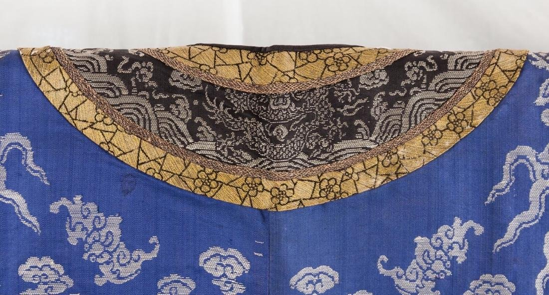 Qing-A Blue Ground Embroidered Dragon Rob - 7