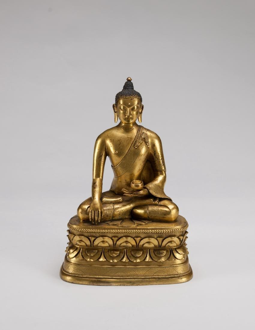 Mongolia A Gilt-Bronze Figure Of Sakyamuni