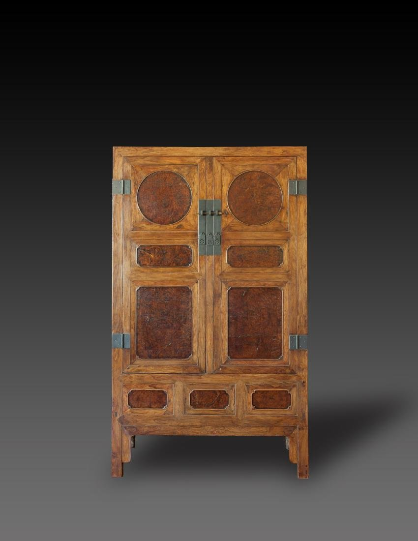 17th Century - A Huanghuali Insert Burl Wood Cabinet