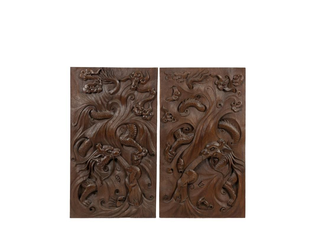 A Pair Of Wood Carved Dragon Board