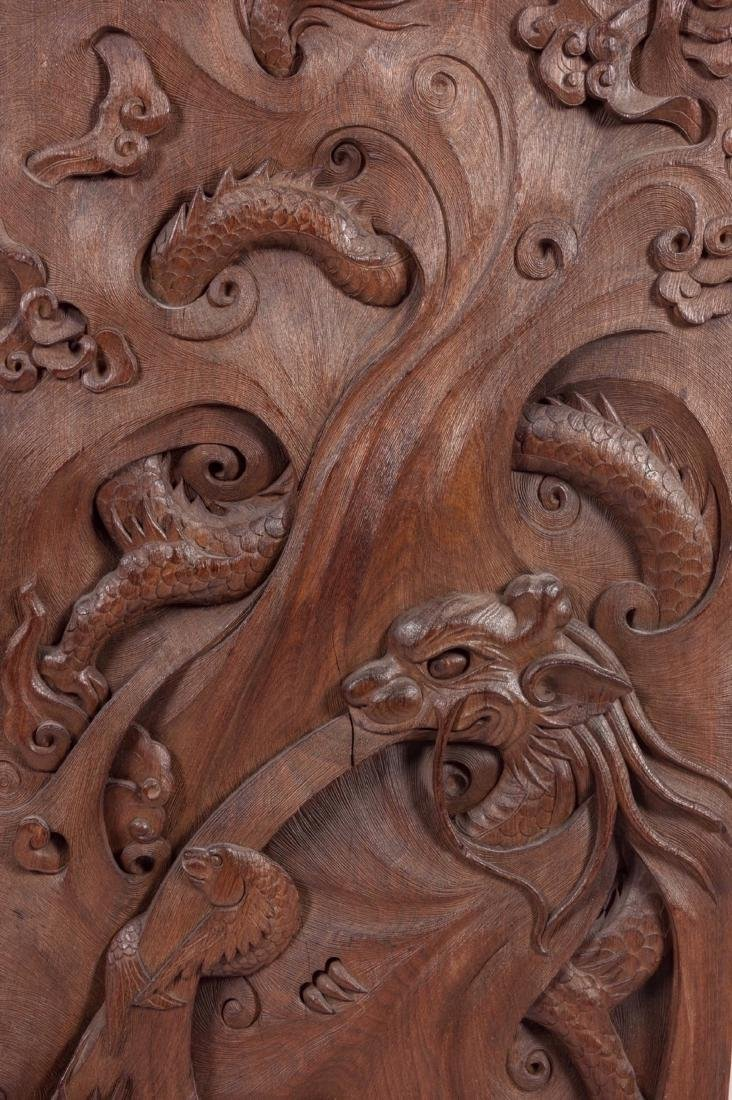 A Pair Of Wood Carved Dragon Board - 2