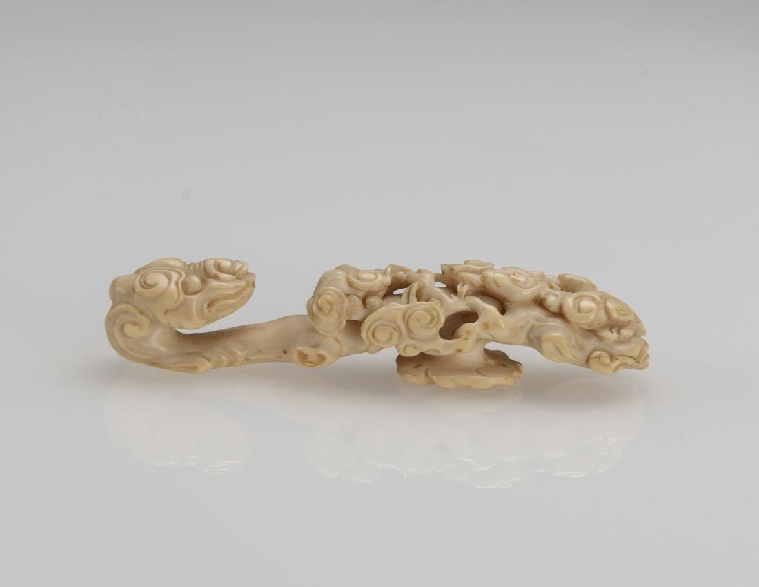 Late Qing/Republic -A Bone Carved Chilung, Ru yi