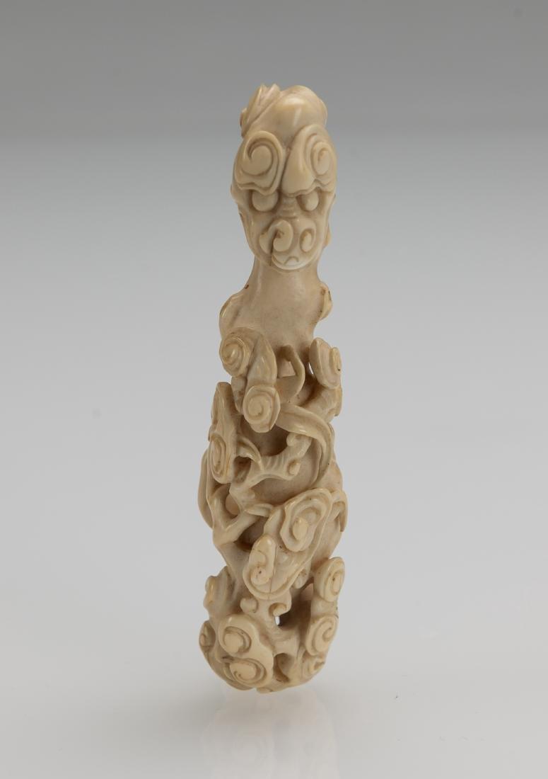 Late Qing/Republic -A Bone Carved Chilung, Ru yi - 5