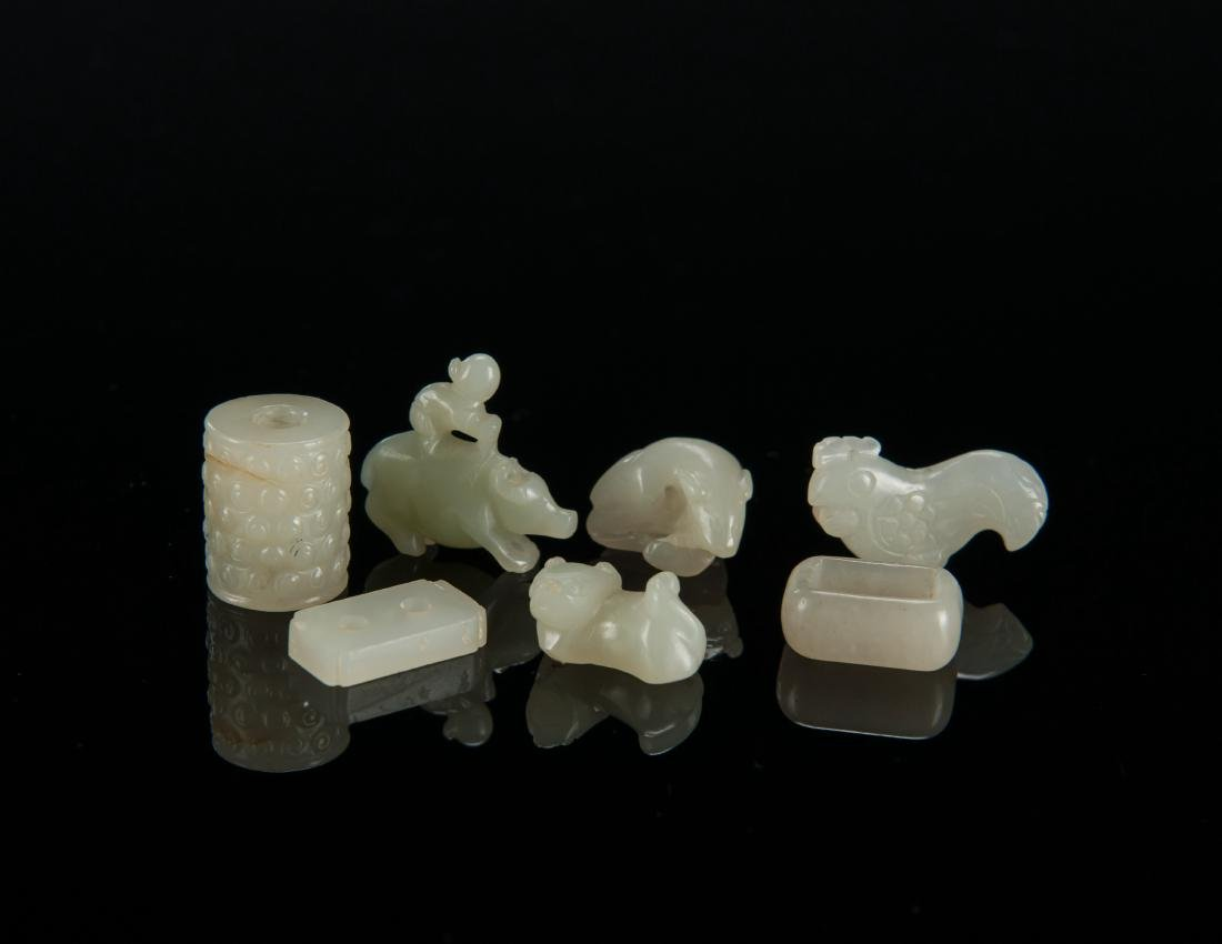 Qing - A Group Of Seven White Jade
