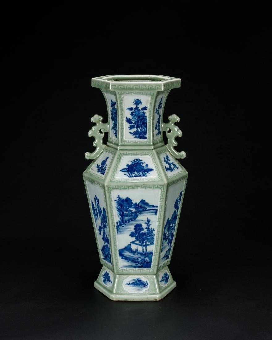Qing-A Beautiful Celadon-Glazed Ground With Blue And