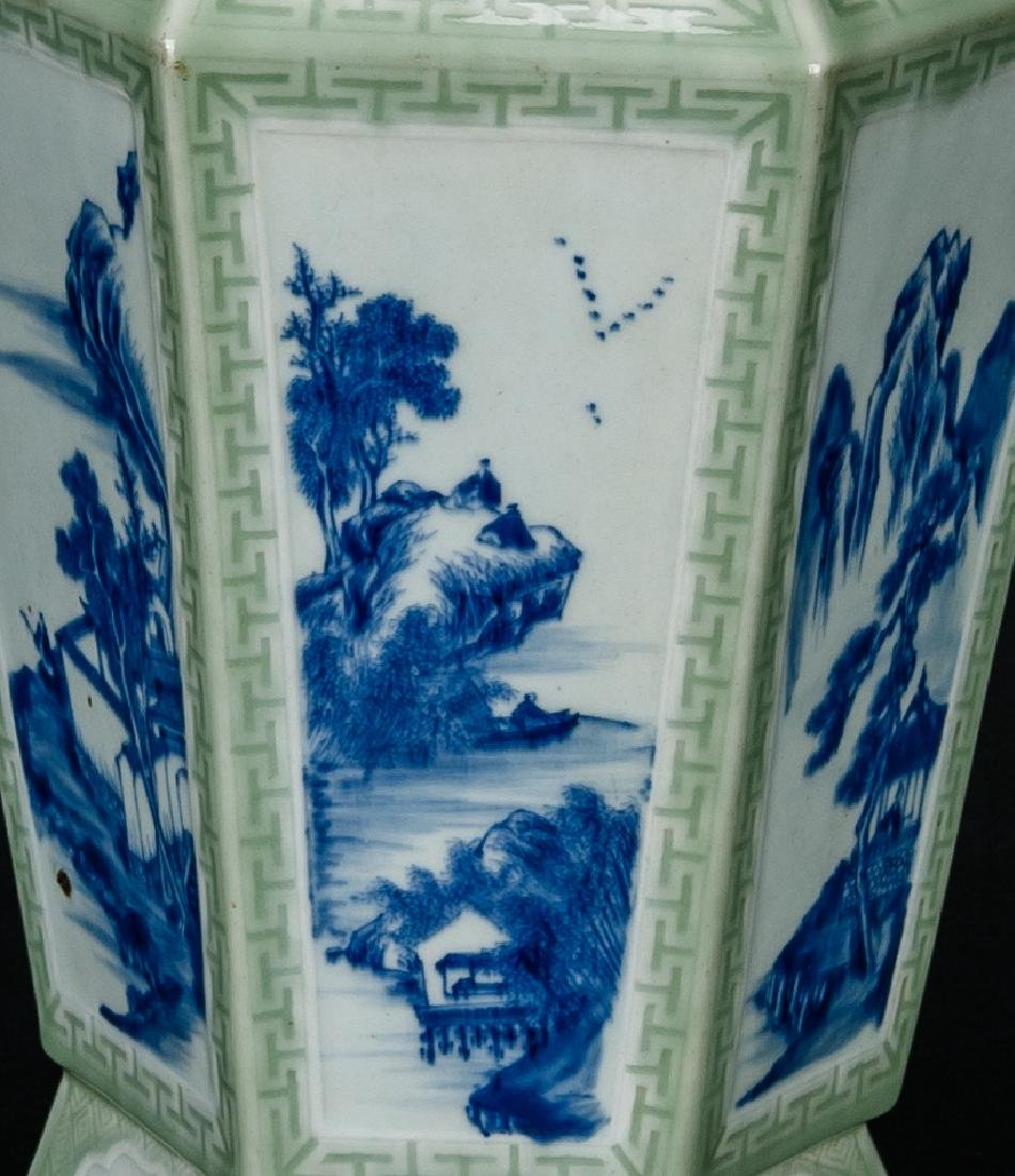 Qing-A Beautiful Celadon-Glazed Ground With Blue And - 3