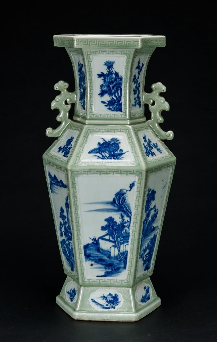 Qing-A Beautiful Celadon-Glazed Ground With Blue And - 4