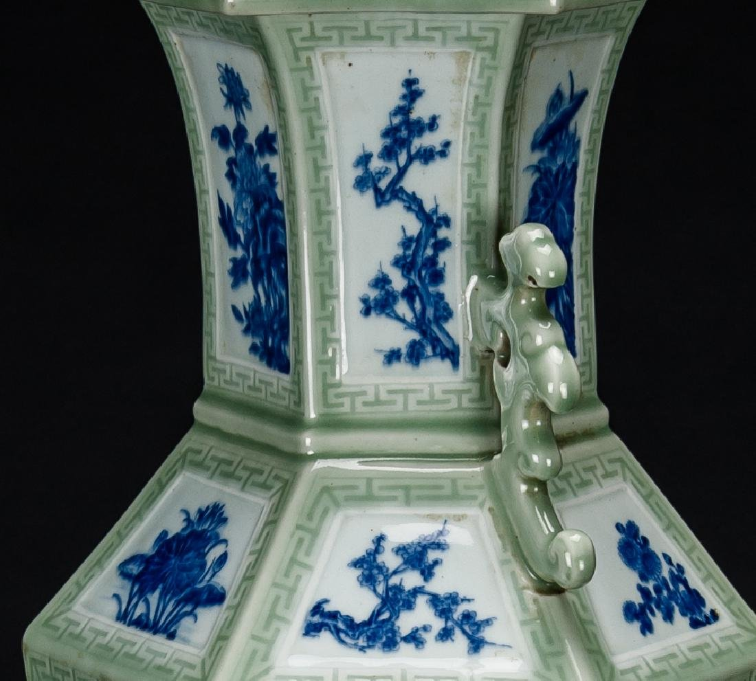 Qing-A Beautiful Celadon-Glazed Ground With Blue And - 6