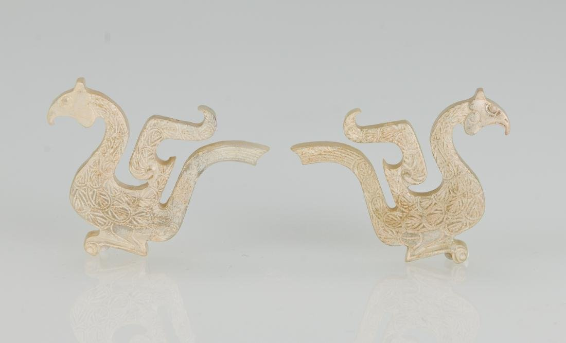Western Zhou- A Pair Of Jade Birds - 2