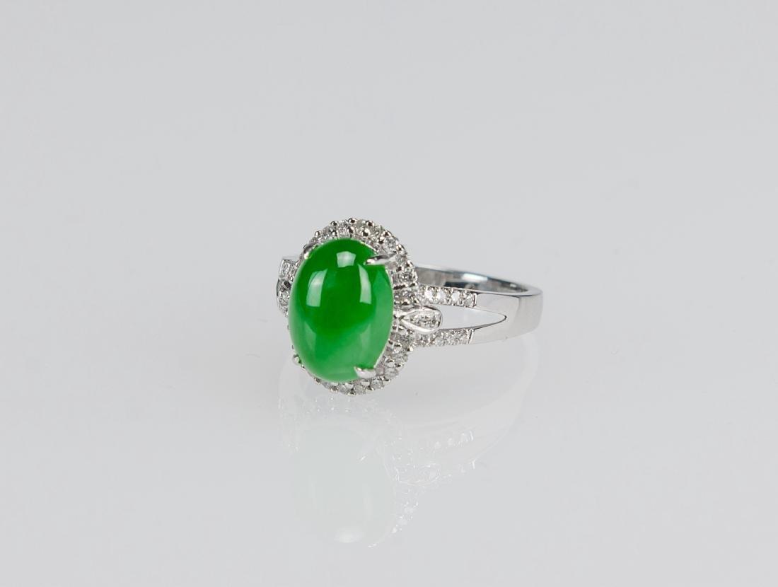A Bright Apple Green Jadeite Ring