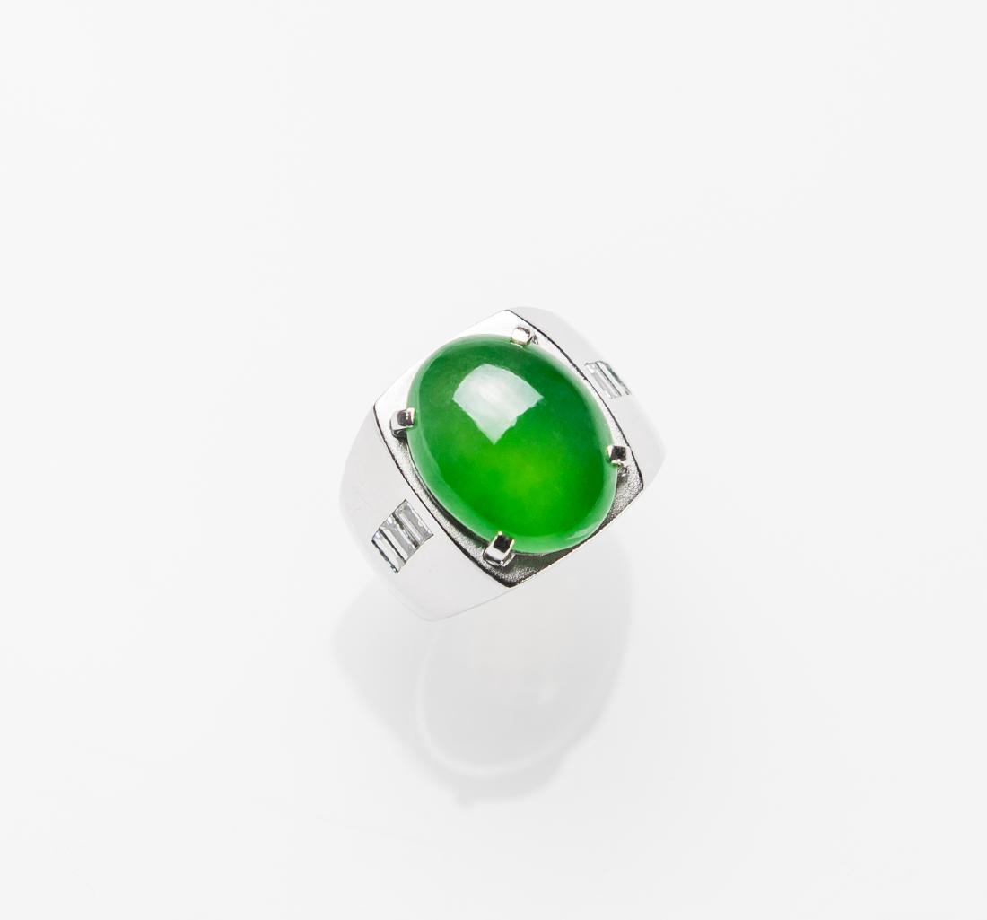 An Extremely Rare Glassy Bright Green Jadeite Jade Ring
