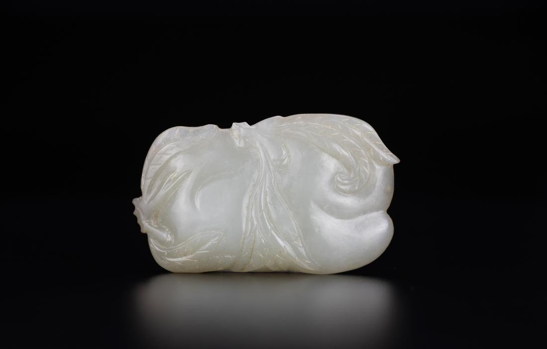 Qing - A White Jade Carved Double Peach(woodstand)