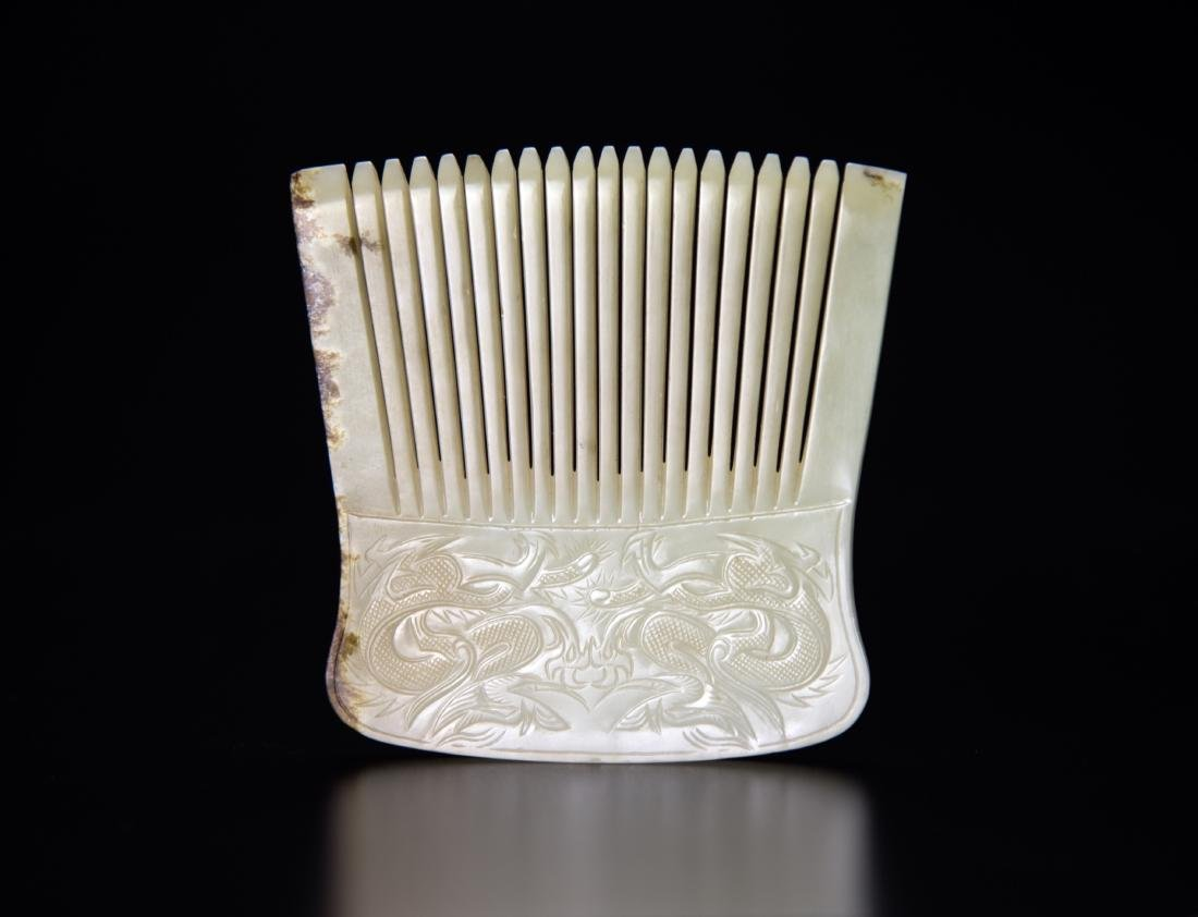 Antique - A White Jade Carved Double-Dragon Comb