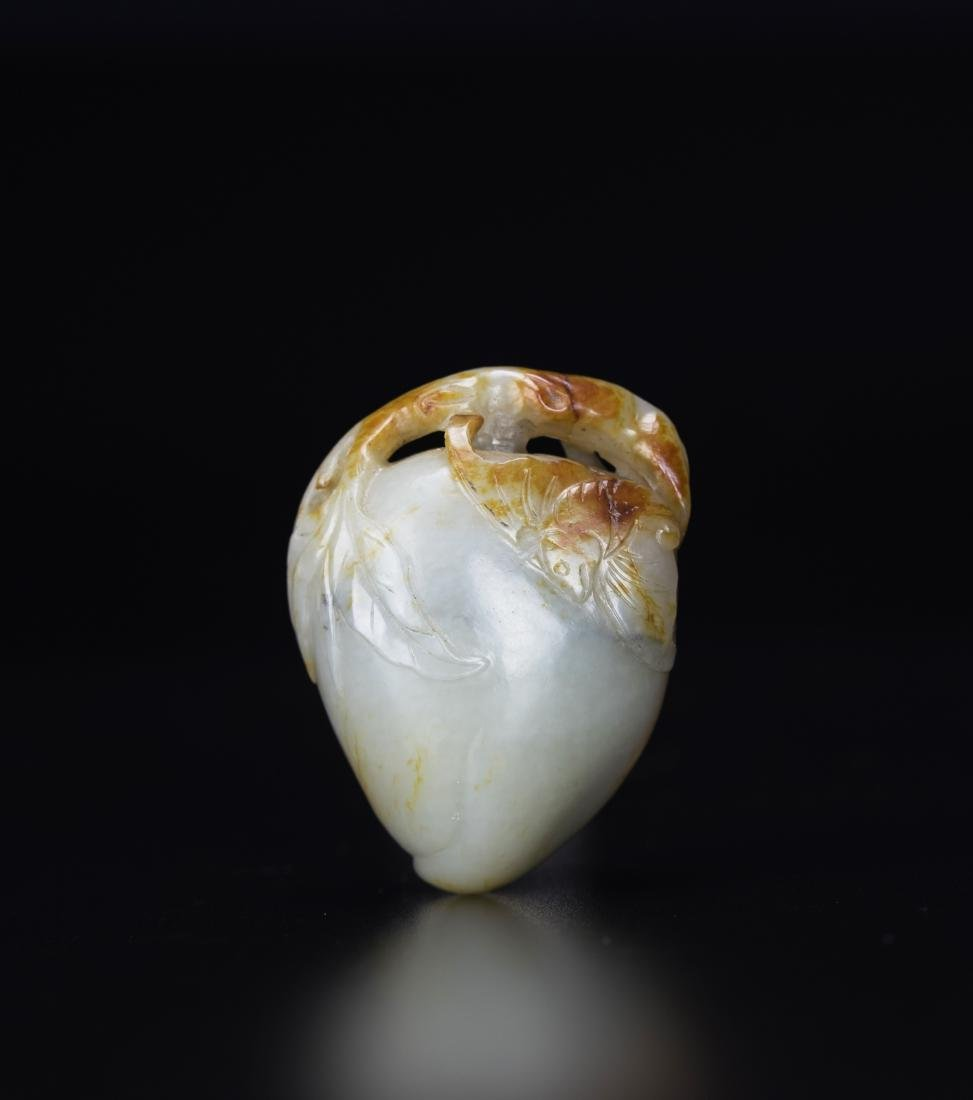 Qing - A Russet White Jade Carved Peach And Bat