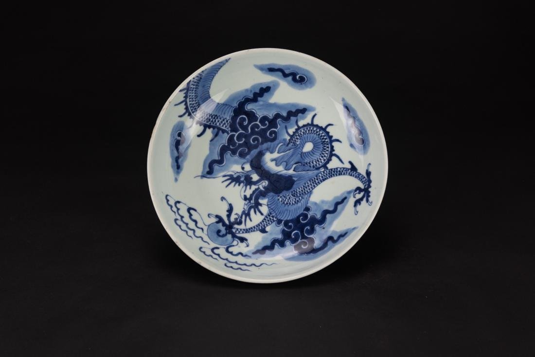 18thCentury - A Blue And White Dragon Plate